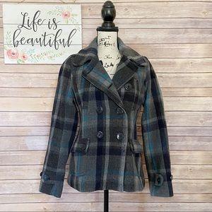 American Eagle Gray Plaid Wool Pea Coat Medium